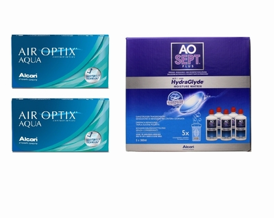Air Optix Aqua (2x6) + AoSept-Plus with HydraGlyde