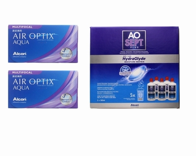 Air Optix Aqua Multifocal (2x6)+ Aosept-Plus with HydraGlyde