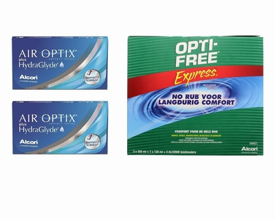 Air Optix plus HydraGlyde (2x6) + OptiFree Express