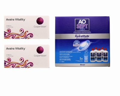 Avaira Vitality (2x6) + AoSept-Plus with HydraGlyde